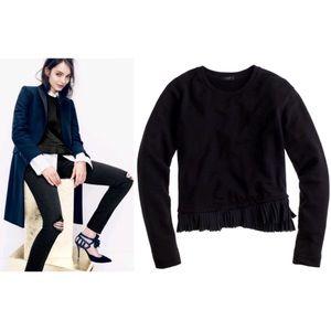 J.Crew Black Pleated Ruffle Hem Pullover Sweater